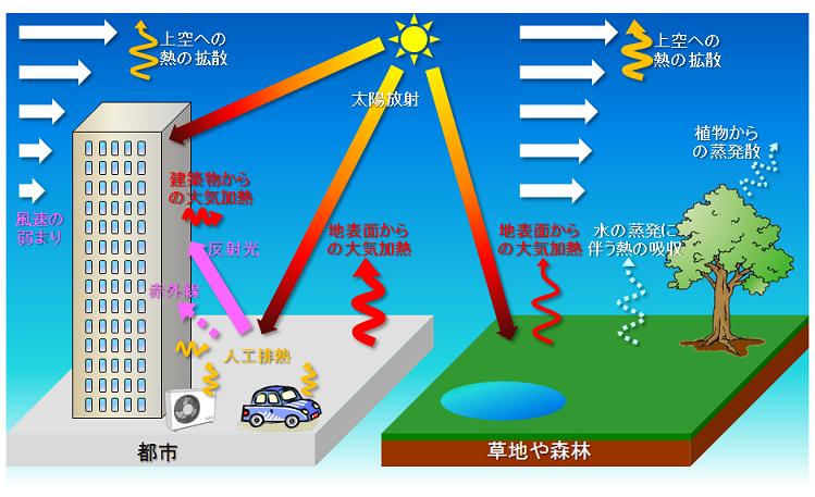 出典:気象庁ホームページ ヒートアイランド現象の概念図