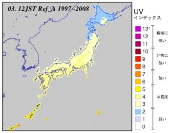 3月の日本付近のUVインデックス分布図