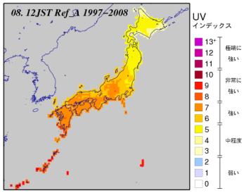 8月の日本付近のUVインデックス分布図