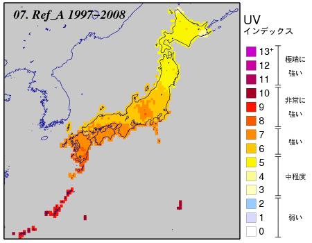 日最大UVインデックス(推定値)の月別累年平均値全国分布図