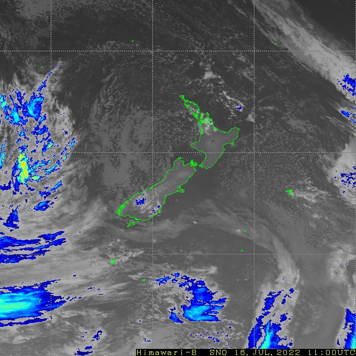Infrared satellite imagery for 11:00pm on 15 May 2021
