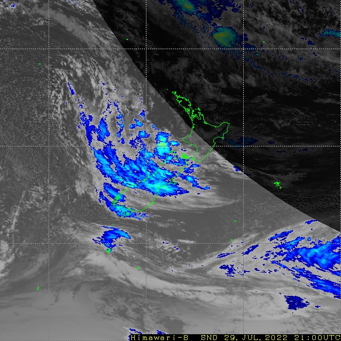 Infrared satellite imagery for 10:00am on 27 February 2021
