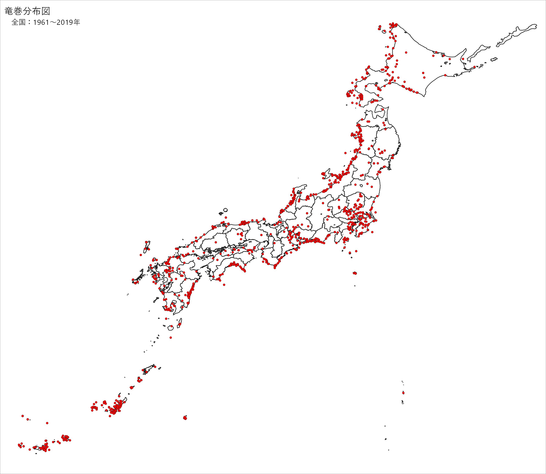 気象庁   突風分布図