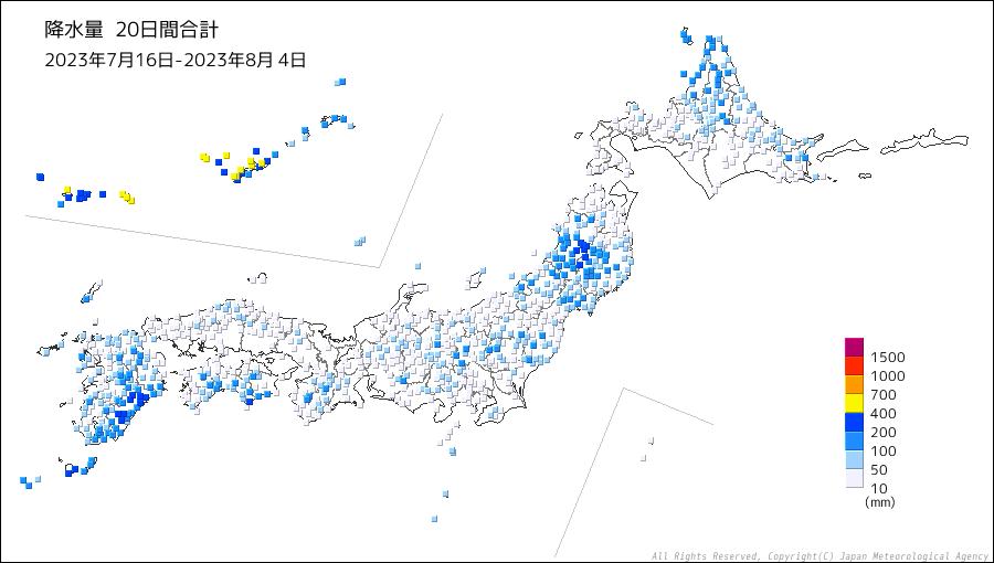 降水量20日間合計の分布図